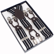 JIERKU Suspenders 6 Clips Man's Braces Suspensorio NewTrousers Strap Father/Husband's Gift with Color Box