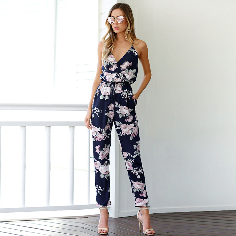 Women Bohemian Backless Sleeveless V-Neck Floral Printed Loose Floral Summer Clothes Summer Beach Jumsuit