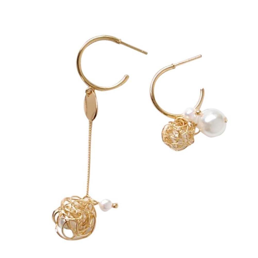 Women Metal Disc Hollow Wire Ball Faux Pearl Charm Asymmetric C type Earrings hot top in Drop Earrings from Jewelry Accessories