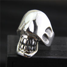 Jewelry S925 sterling silver trend fashion personality exaggerated unique skull head men's Thai silver ring(China)