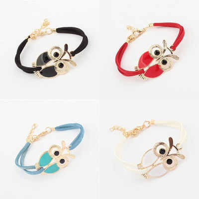 Womens Girls Vintage Owl Decoration Faux Leather Bracelets Beautiful Fashion For Women Friend Gift Wholesale