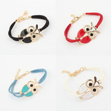 купить Womens Girls Vintage Owl Decoration Faux Leather Bracelets Beautiful Fashion For Women Friend Gift Wholesale дешево