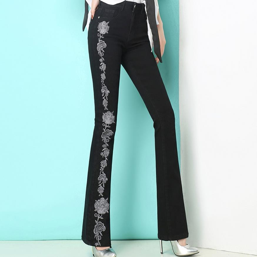Plus Size embroidery flowers Pants Women New Fashion OL Casual Flare Pant Trousers Long jeans