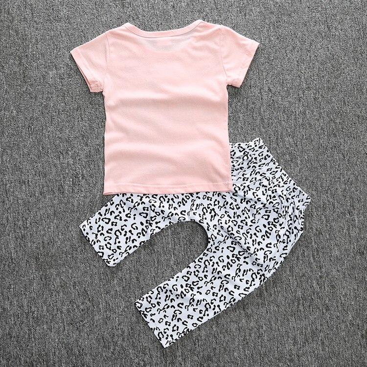 2018 Kids Baby Girls summer clothes set 2pcs suit letter Tops outfits Pink Pant childrens clothing sets roupas infantis menina