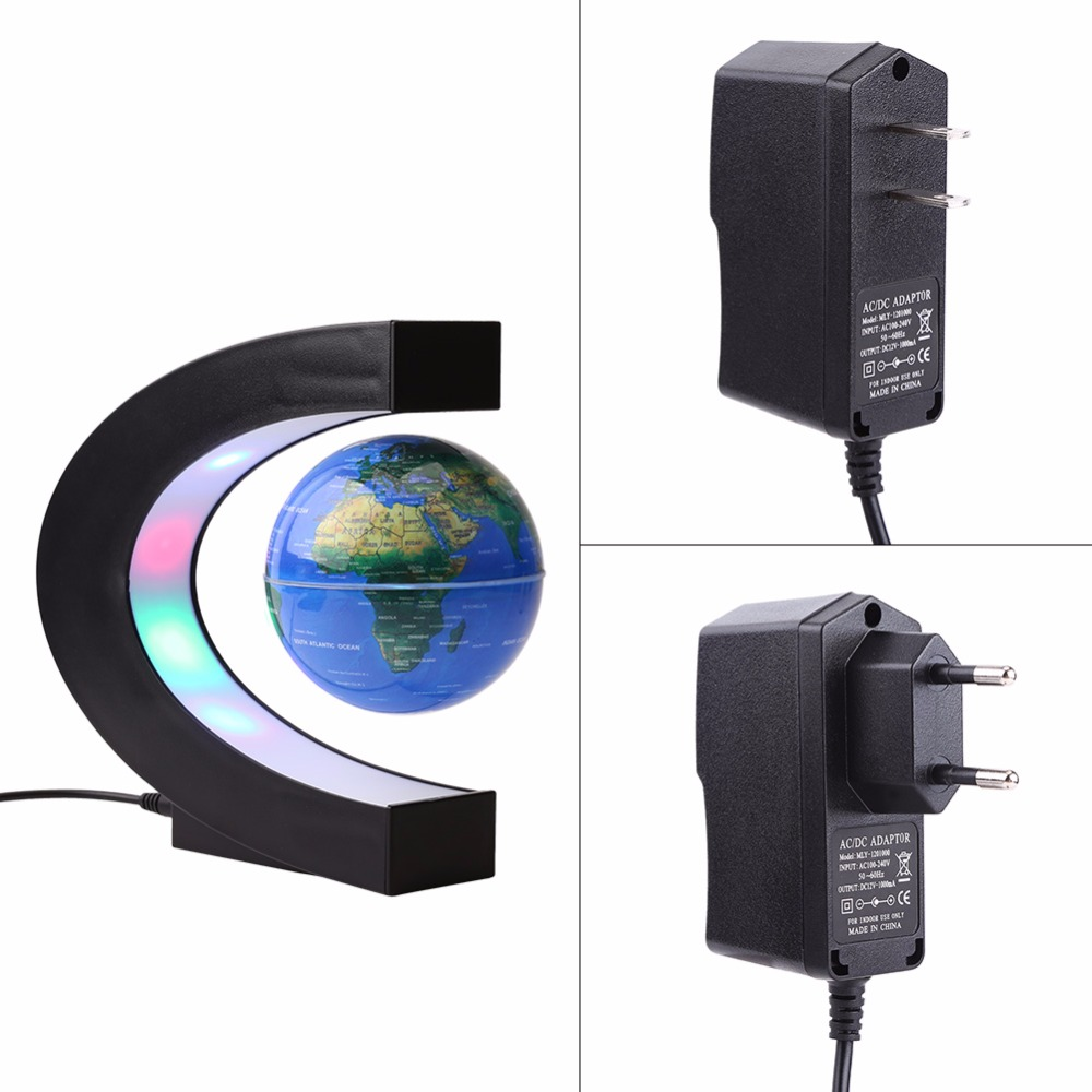 C shape led world map light decor magnetic levitation floating globe c shape led world map light decor magnetic levitation floating globe world map for desk decoration novel birthday home night in led night lights from lights gumiabroncs Image collections