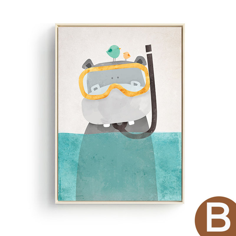 HAOCHU Nordic Decorative Canvas Painting Cartoon Animal Bear Wearing Beautiful Clothes Hat Scarf in the Water Posters