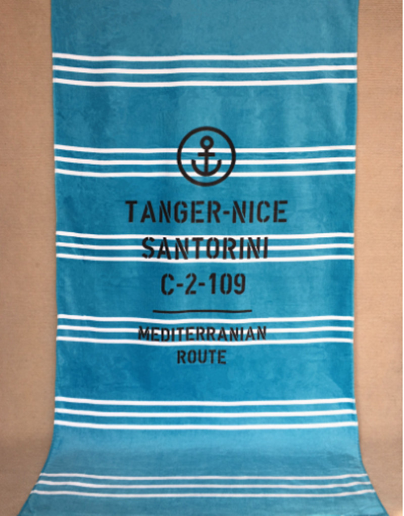 160x85cm European 100% cotton big bath towel with stripe letter reactive print, soft absorbent adult swimming beach towel T128