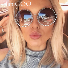 Fashion Classic Ladies Oversized Round Cat Eye Sunglasses Women Vintage Luxury Brand Designer Big Frame Sun Glasses For Female