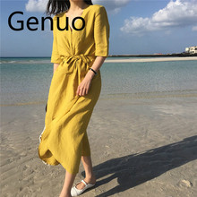 Korean design Summer Beach Casual Dress Thin Light Cotton Linen Sashes Loose Women Midi 2019 New Prairie Chic