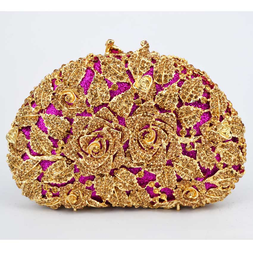 Brand Clutch Luxury Crystal Rose figure Women Clutch Bag Evening bag Handbag For Party Prom box Day clutches (88303-I)