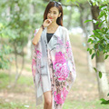 2016 Summer Print Silk Scarf Oversized Chiffon Scarf Women Wrap Sarong Sunscreen Pareo Beach Cover Up Long Cape Female WJ8033