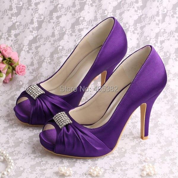 где купить Wedopus Custom Handmade Ladies Wedding Shoes Purple 2015 Square Toes Size 36 по лучшей цене