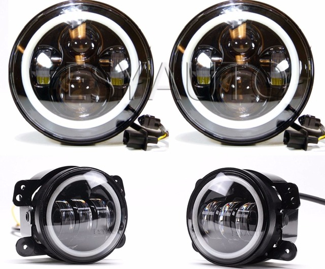 "Combo 7 Inch LED 40W Headlights White DRL Angel Eyes + 4"" 30W Passing Fog Light Assembly for Jeep Wrangler JK LJ TJ"