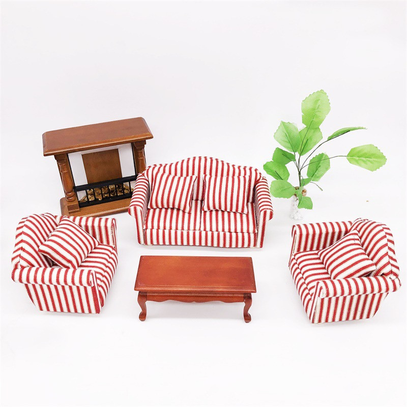 1:12 Dollhouse Miniature Couch Furniture Toy Mini Sofa Red 3pcs/set Children Gifts Kid House Play Toys