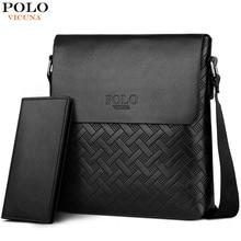 VICUNA POLO New Arrival Plaid Leather Men Business Shoulder Bag With Wallet Set Series Vintage Travel Brand Men Messenger Bag