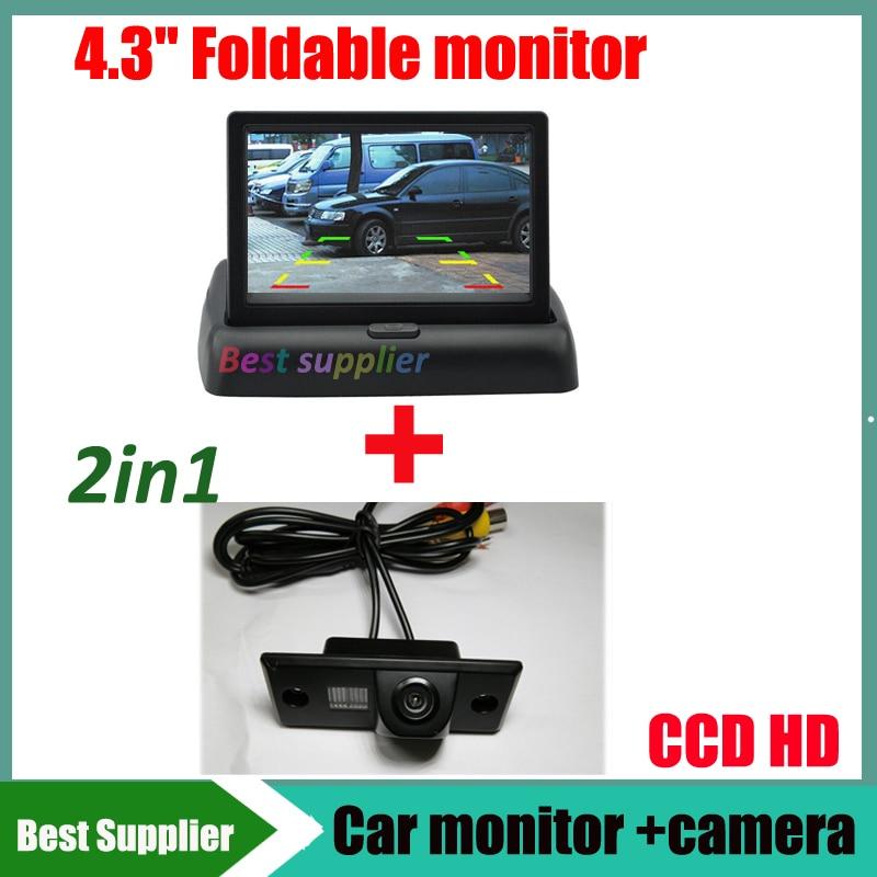 2in1  Car monitor display + Car rear view reverse camera for VW Touareg Tiguan Old Passat Santana Polo Sedan Porsche Cayenne
