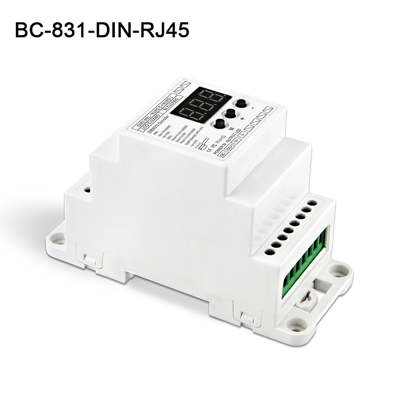 BC-831-DIN-RJ45 DC12-24V input 10A*1CH output,Constant voltage DIN Rail DMX512 Decoder digital tube display for led strip kvp 24200 td 24v 200w triac dimmable constant voltage led driver ac90 130v ac170 265v input