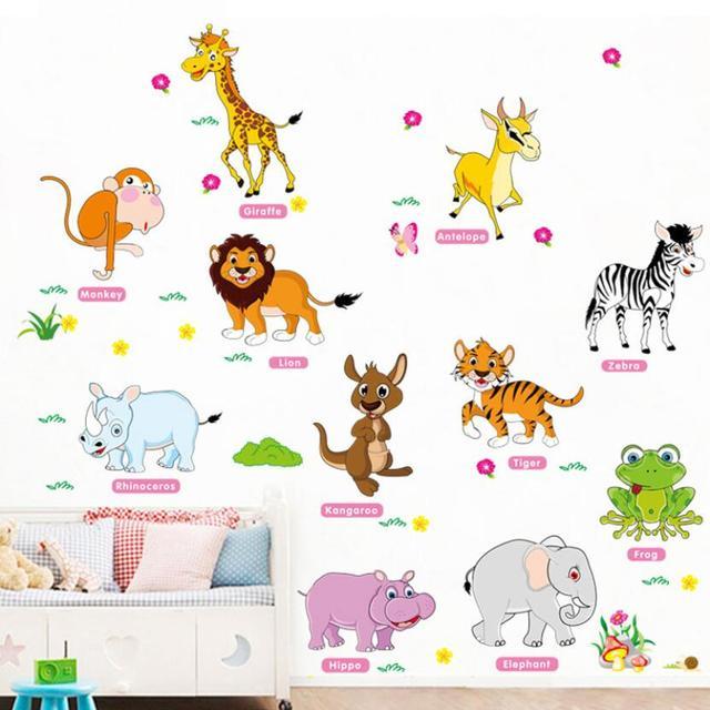 cute cartoon animals wall sticker animal english name learning