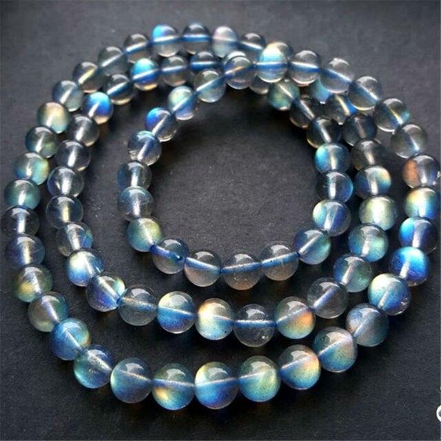 5mm 6mm Genuine Natural Ice Labradorite Rainbow Light Round Beads Jewelry Women Femme DIY Charm Fashion Bracelet