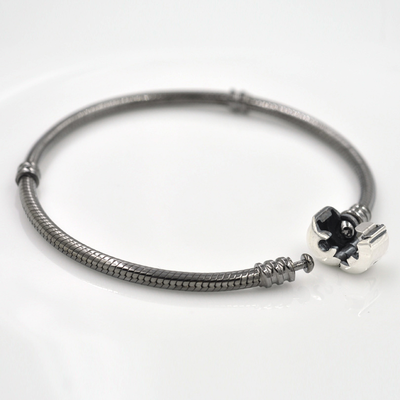 Authentic 925 Sterling Silver Moments Oxidised Charm Bracelet Snake Chain  Black Color DIY Bracelet Jewelry Making charmlee