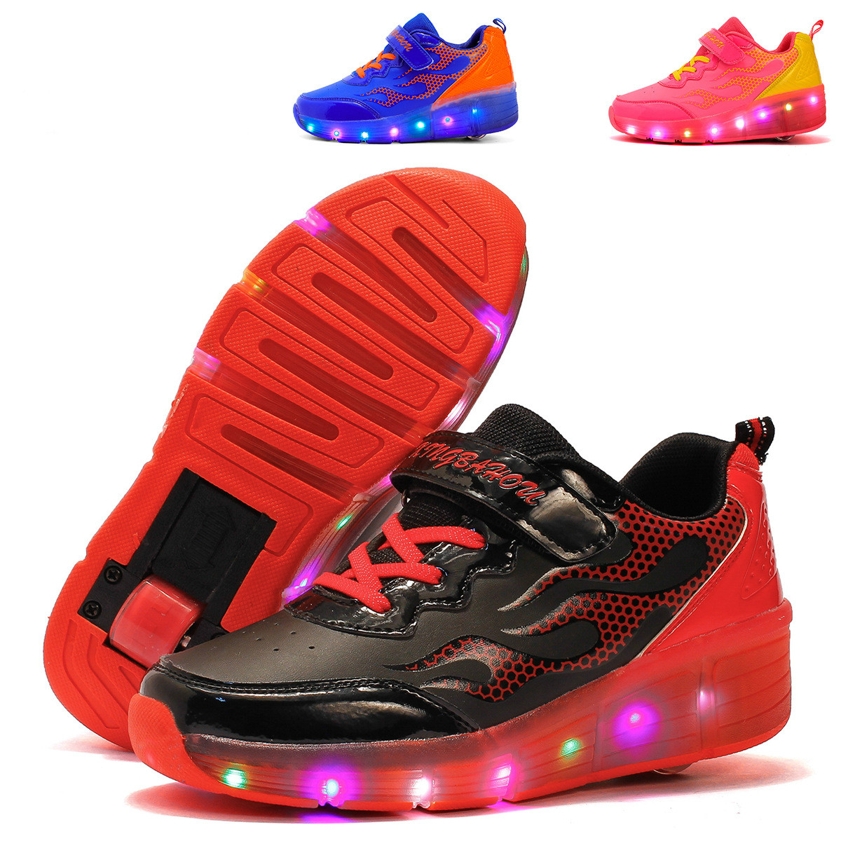 Pop out roller skate shoes - New Children Glowing Sneakers Kids Jazzy Roller Skate Shoes With Wheels Led Light Up Glowing Shoes