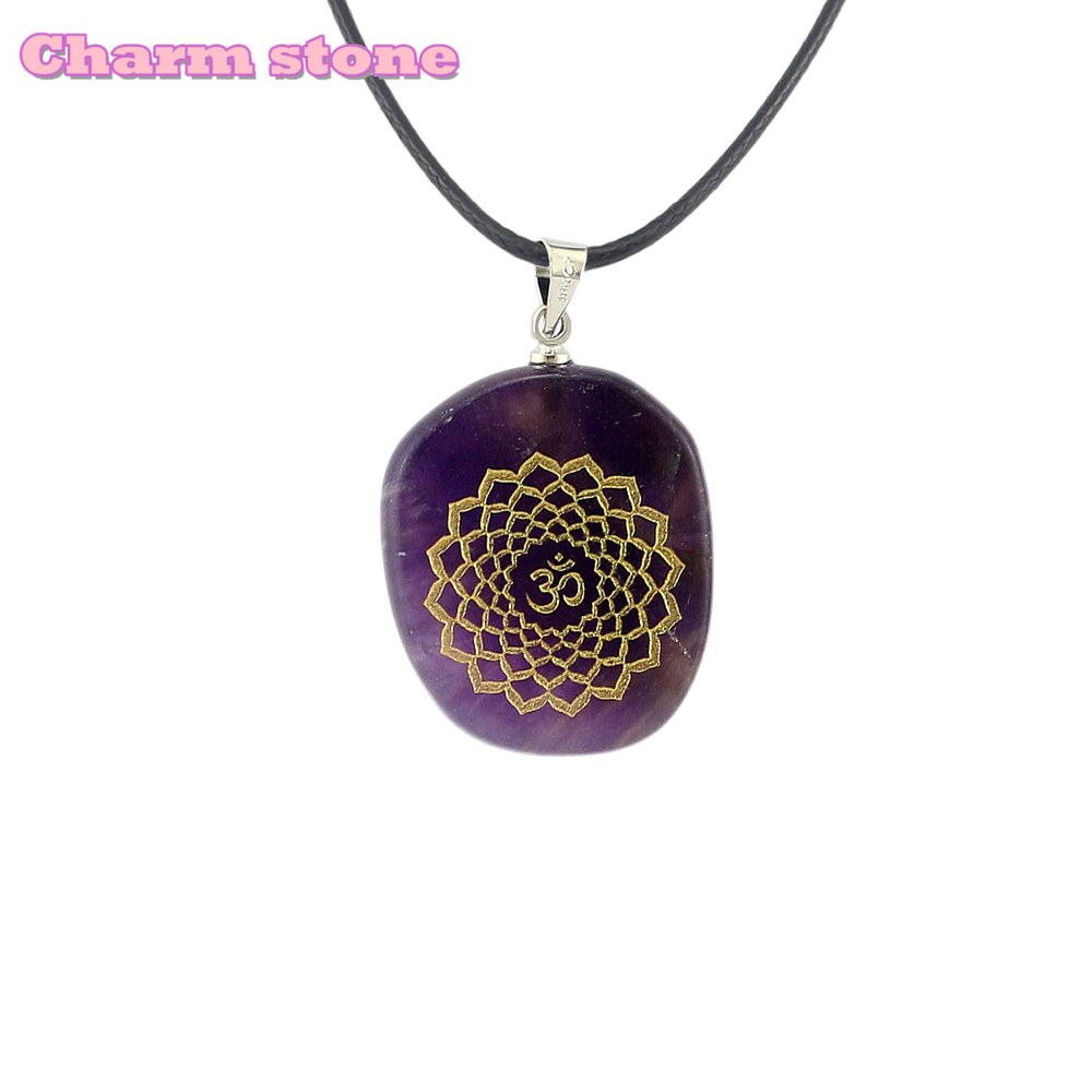2019 News Variety Natural 7 chakra stone reiki healing necklace characteristic Fashion jewelry design ellipse Pendant charms