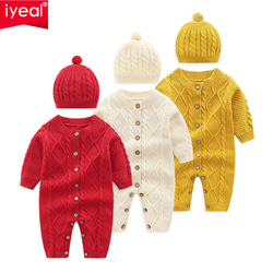 IYEAL Newborn Baby Boy Girl Christmas Costume Cotton Knitted Baby Rompers With Hat 2PCS Winter Crawling Kids Clothes Jumpsuit
