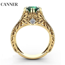 Canner New Women Lady Elegant Green Big Rhinestone Crystal Ring Round Gold Wedding Engagement Rings Jewelry