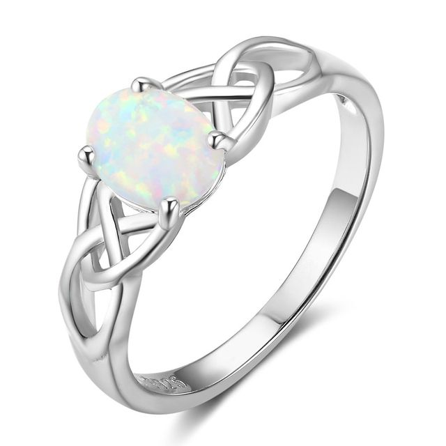 Women 925 Sterling Silver Rings Opal Wedding Bands Engagement Promise Style Jewelry Gifts
