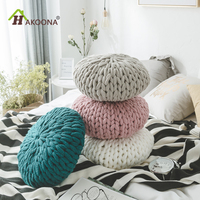 HAKOONA Kitted Thread Candy Round Pillow Warm Hand Woven Coarse Lines Knitting Cushions Nap Office
