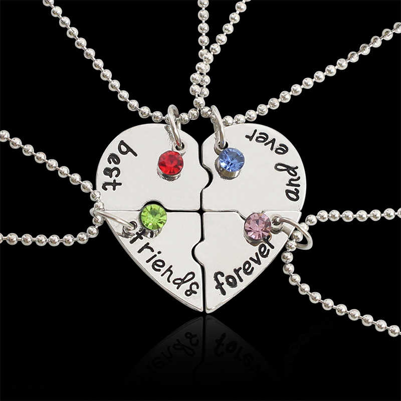 fa5a3e95ccf7e 4 Pcs/Set Trendy Best Friend Necklaces Broken Heart Pendant Necklace Inlaid  Milti Rhinestone BFF Necklace For Women Bff Jewelry