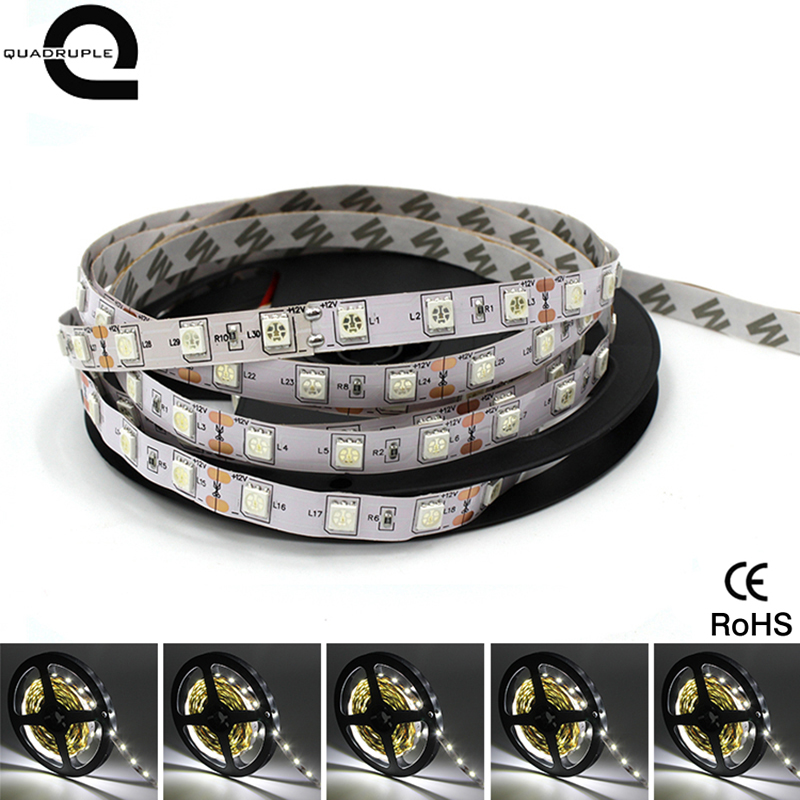 Quadruple Hight Quality 5050 Flexible Strip Light DC 12V 300LEDS LED Light Tape Ribbon Lamp For Home Decoration White IP20