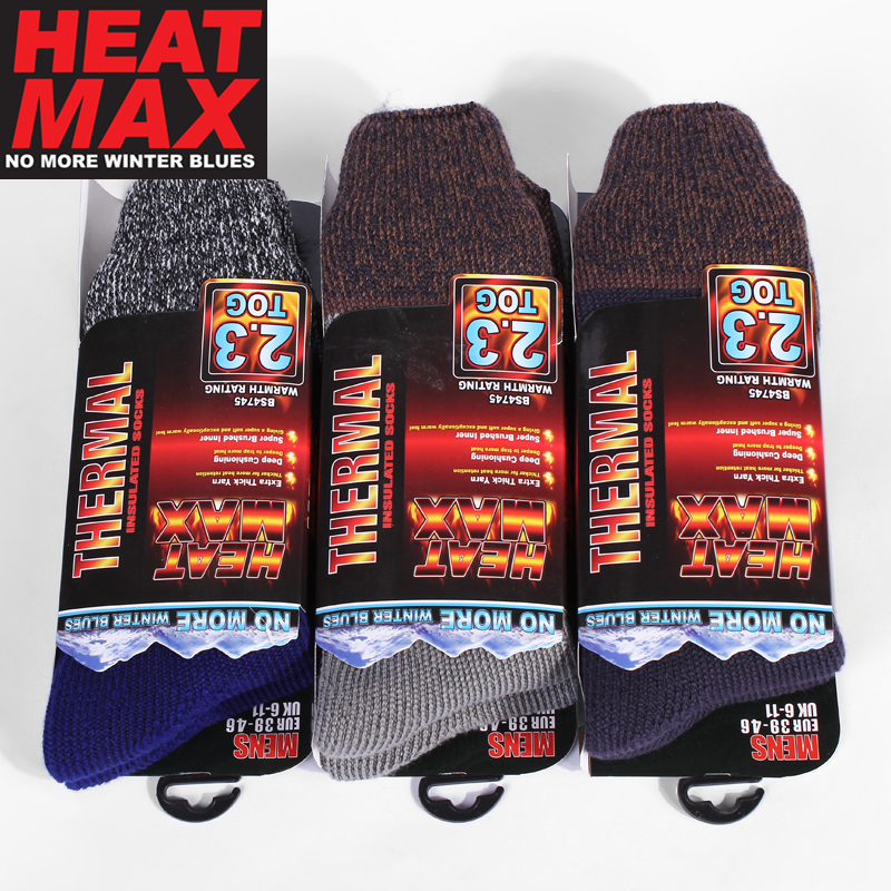 d423dafc545c4 Heat Max Ultimate Mens Warm Winter 2.3 Tog Thermal Socks Twist Marl top  Fashion Design Men's Winter Socks Thick Socks-in Men's Socks from Underwear  ...