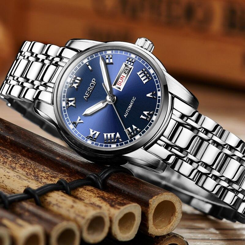 ESOPO orologi Delle Donne Delle Signore della vigilanza Del Giappone di alta qualità meccanica Automatica orologi Argento vestito di metallo orologio Da Polso relogio feminino