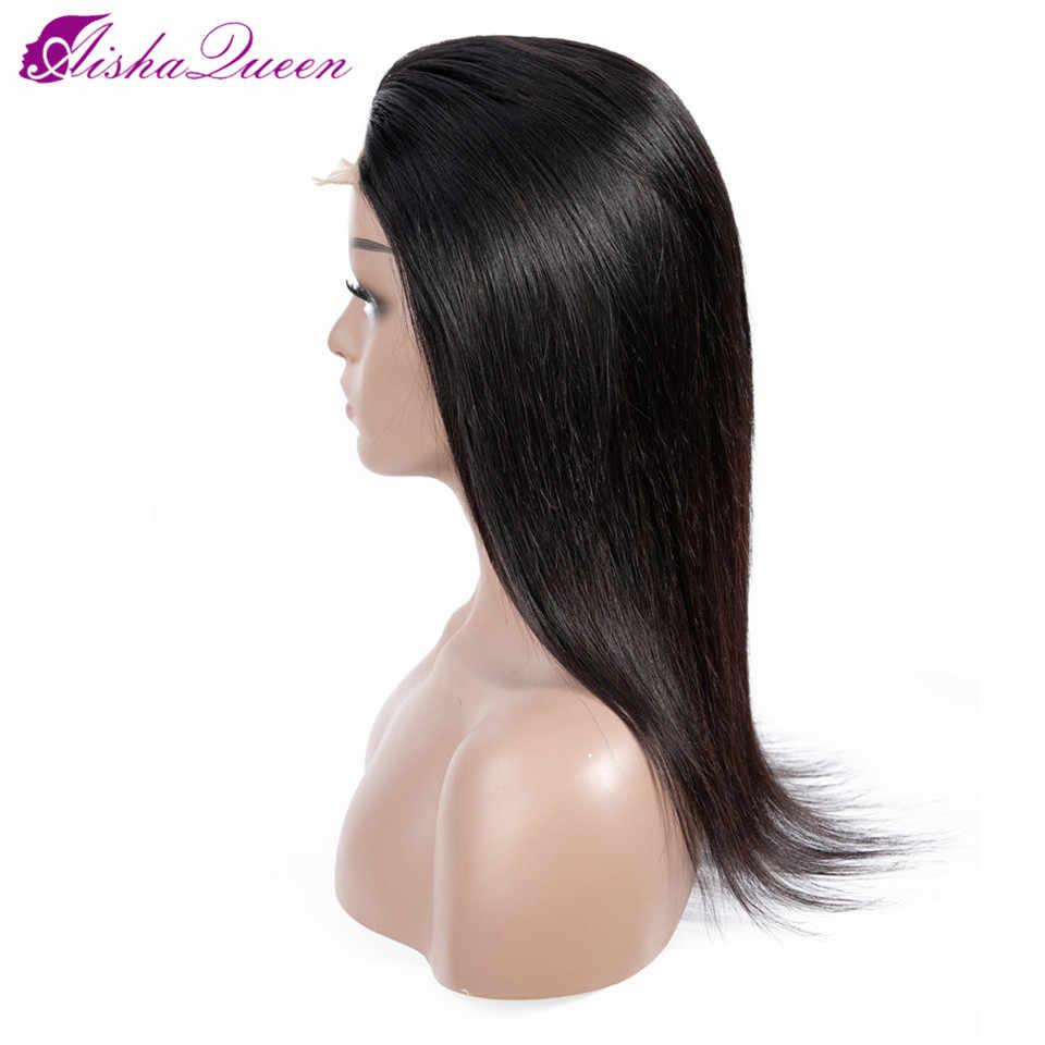 Aisha queen hair 4*4 парики из натуральных волос на кружеве малайзийские прямые волосы на кружеве al Wig предварительно сорванные U часть не Реми парик натурального цвета