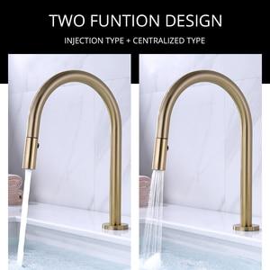 Image 3 - Dual Holes Singe Handle Design Faucet Kitchen Sink Faucet Matt Burnish Gold Brass Double Hole Pull Out Deck Mount Mixer Tap