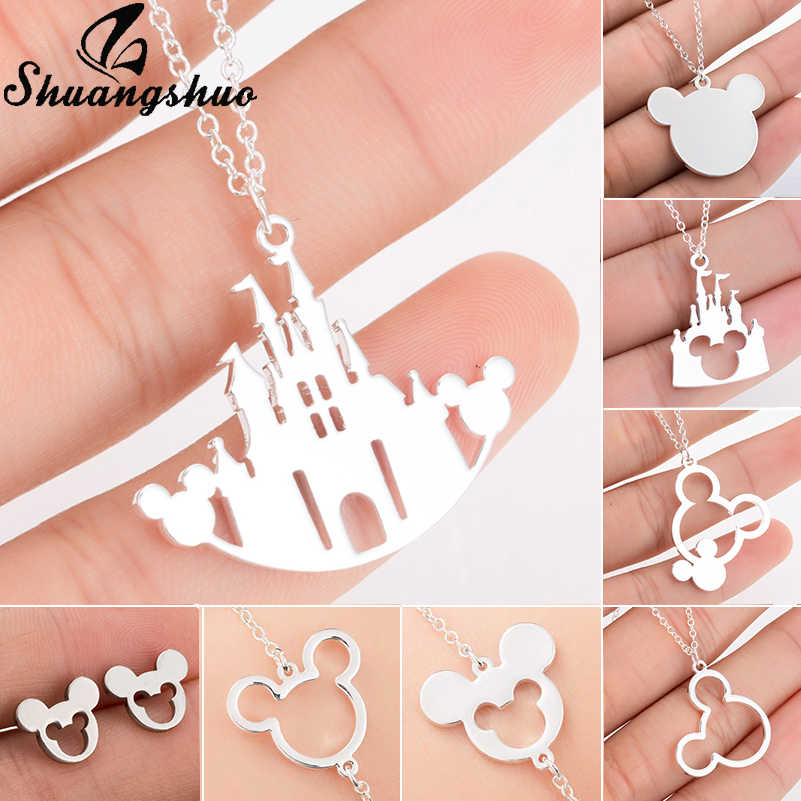 Shuangshuo Mickey Castle Pendants Necklaces Silver Chain Necklace For Women Choker Necklace Stainless Steel Party collier femme
