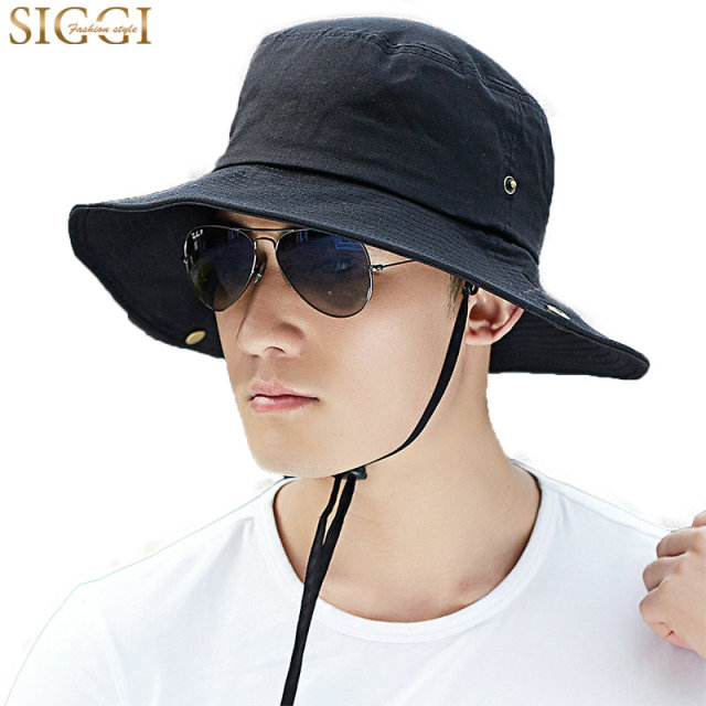 SIGGI Men Bucket Summer Sun Hat Cotton Packable Unisex Boonie SPF UV 50+  Fishing Hiking Cap Chin Strap Breathable 69057 8c1e6f06166
