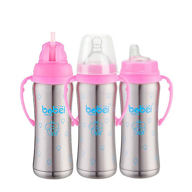 3 in 1 Infant Baby Insulated Stainless Steel Handle Water Straw Feeding Bottle