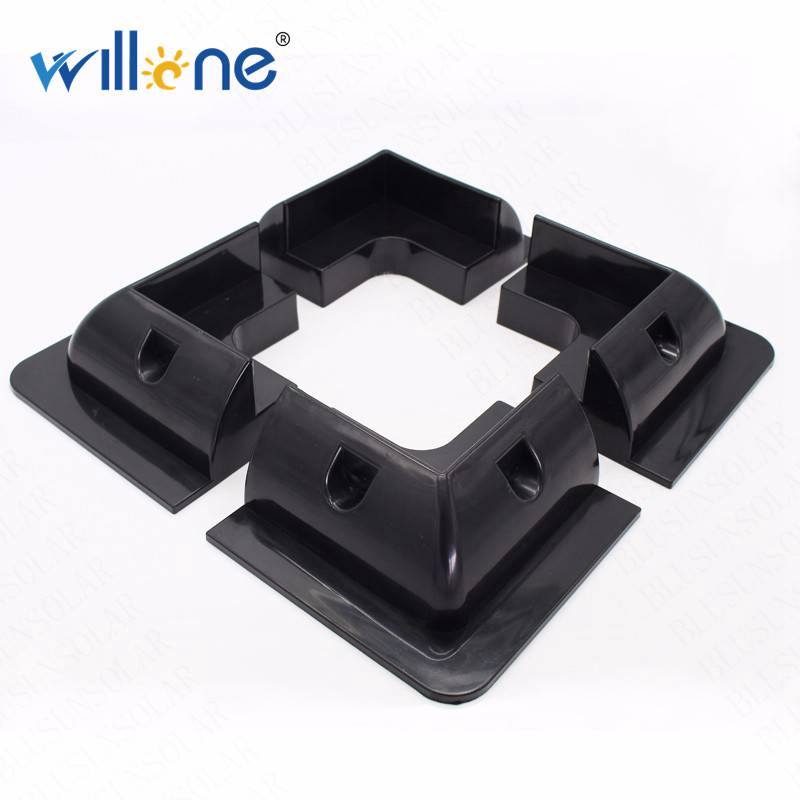 Willone free shipping 2 lots 4pcs black ABS solar panel mounting kits for RV/Caravan