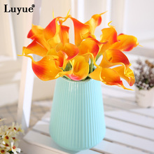 10pcs Real Touch Lily Calla PU Artificial Flower Bride Bouquet Wedding Decor Simulation Fake Flowers Wreaths
