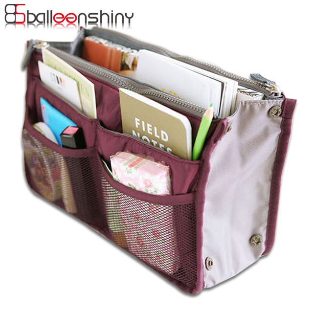 Balleenshiny Nylon Cosmetic Bag Travel Storage Easy Tidy Suitcase Organizer Portable Makeup Container Divider Handbag