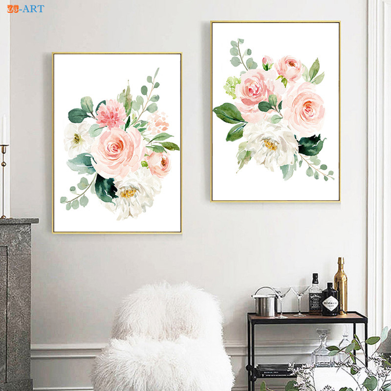 Us 2 96 26 Off Canvas Painting Blush Pink And Mint Watercolor Fl Paintings Peach Light Poster Print Nursery Wall Art Home Decor In