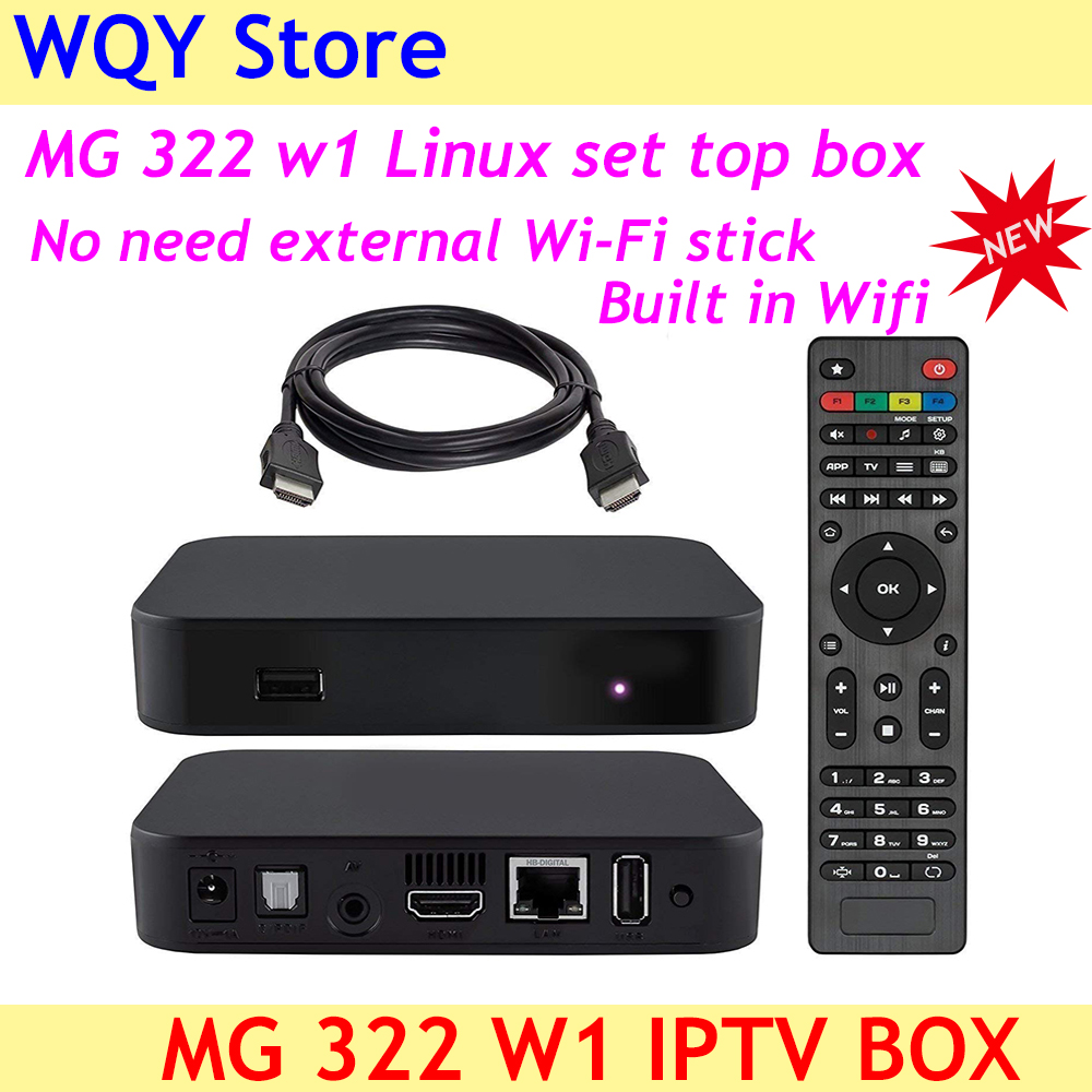 2019 New arrival MG 322 W1 IPTV box built in wifi powerful set top Linux3 3