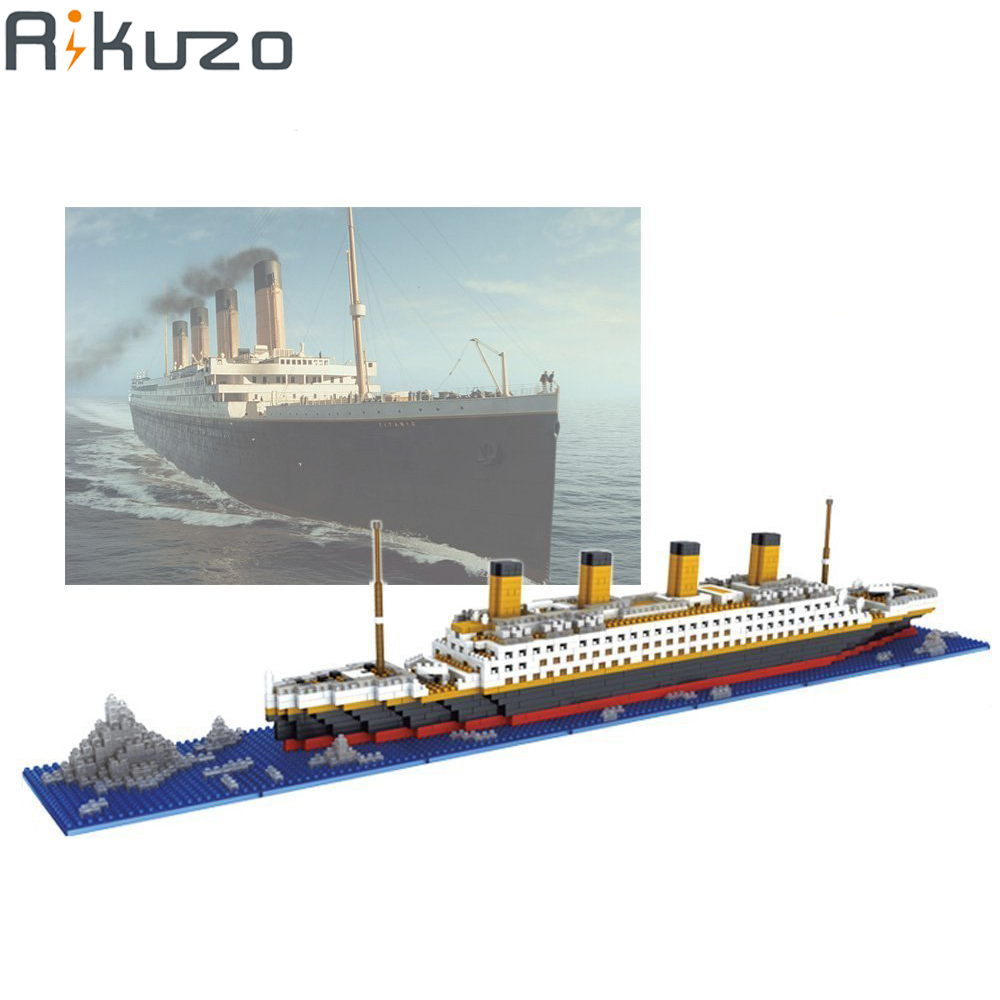 Rikuzo Titanic Ship Model Building Block Set 1860pcs - Nano Micro Blocks Mini legoing lepin DIY Toys Gift lepin 22001 pirate ship imperial warships model building block briks toys gift 1717pcs compatible legoed 10210
