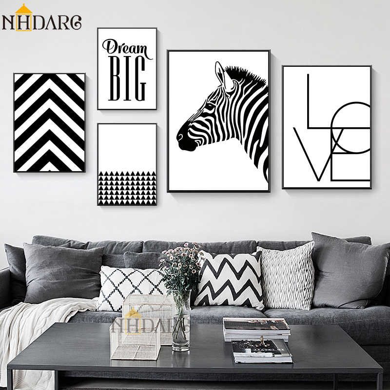 NHDARC Canvas Printings Art Nordic Modern Black White Style Abstract Home Decoration Paintings Posters and Prints Wall Pictures
