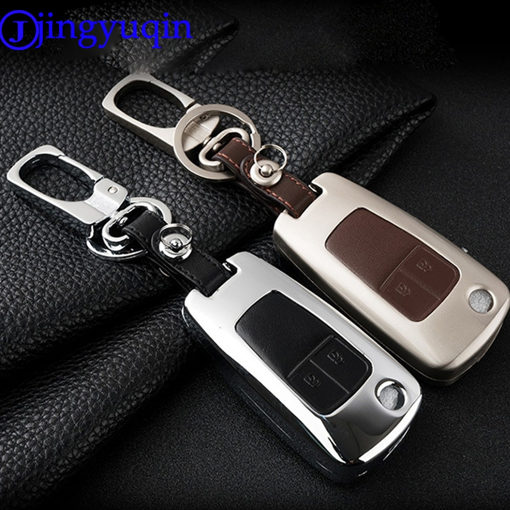 jingyuqin Remote 2 Buttons Zinc Alloy+Leather Key Cover Case For Chevrolet Epica Lova For Opel Vauxhall Astra Insignia