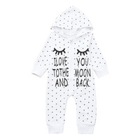 MUQGEW Newborn Baby  rompers Boy Girl Letter Hooded Romper Jumpsuit Outfits Clothes  Winter clothes for baby children's clothing Baby Rompers