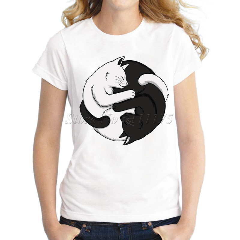 2017 Women Fashion Yin Yang Cats Design Short Sleeve T shirt Female Fantastic Printed Tops Casual Tees