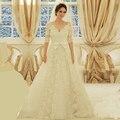Vestidos De Novia medias mangas vestido De Novia De una línea De cuello en V De encaje con encanto 2016 largo Simple Novia De la boda apliques Vestidos